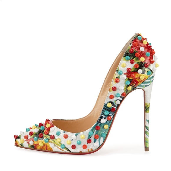 info for 82e1b 046ed Christian Louboutin 38 Floral Follies Spikes 100MM NWT